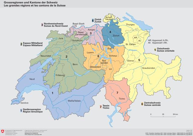 Freiburg Schweiz Karte.Grossregionen Und Kantone Der Schweiz Kantone Grossregionen