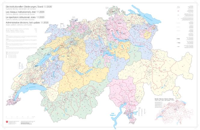 carte des cantons 2020 Carte synoptique des niveaux institutionnels de la Suisse, état