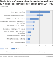 Studients in professional education and training colleges by most popular training sectors and by gender