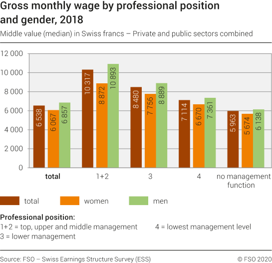 Gross monthly wage by professional position and gender, 2018