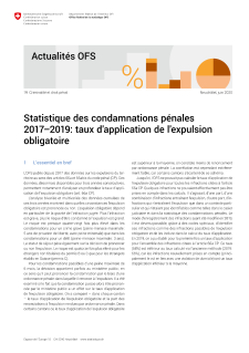 Statistique des condamnations pénales 2017-2019: taux d'application de l'expulsion obligatoire