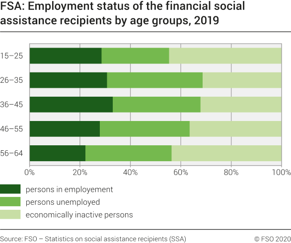 FSA: Employment status of the financial social assistance recipients by age groups