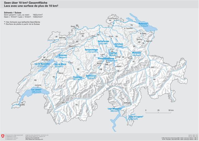 Seen Uber 10km2 Gesamtflache Schweiz Karte
