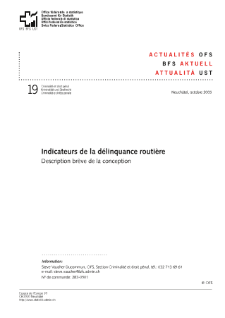 Indicateurs de la délinquance routière. Description brève de la conception