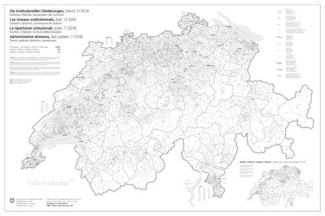 Schweiz Karte Schwarz Weiss.Ubersichtskarte Der Institutionellen Gliederungen Der