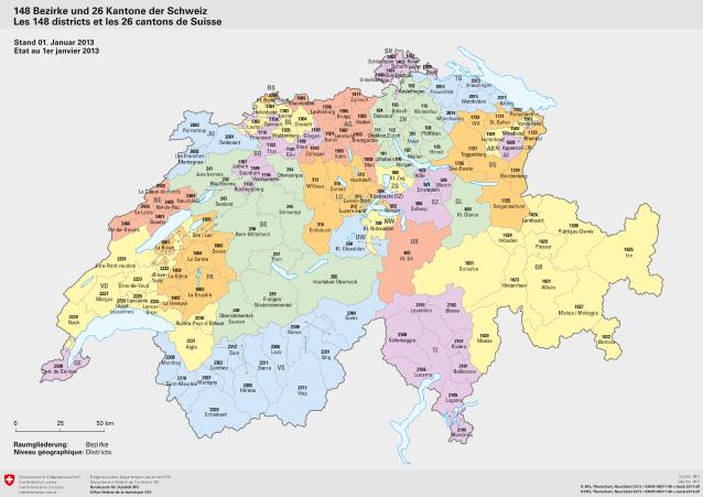 schweiz kantone karte 148 Bezirke und 26 Kantone der Schweiz (Kantone/Bezirke) | Karte