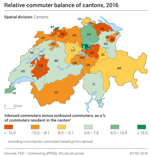 Relative commuter balance of cantons