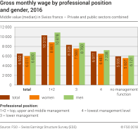 Gross monthly wage by professional position and gender