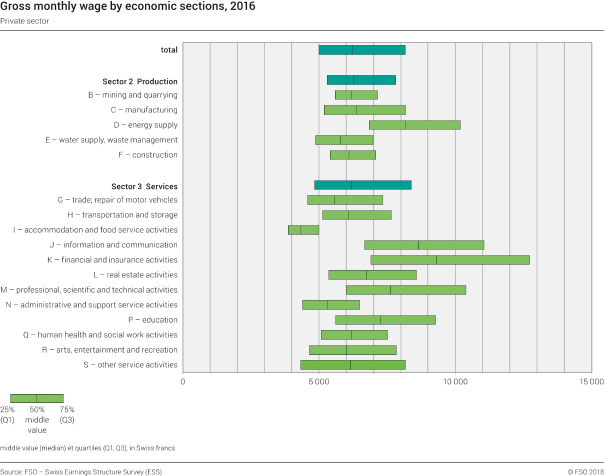 Gross monthly wage by economic sections