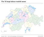 The 16 large labour market areas 2018