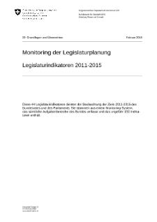 Monitoring der Legislaturplanung Legislaturindikatoren 2011-2015
