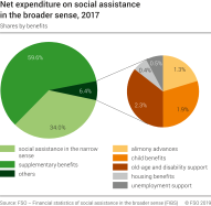 Net expenditure on social assistance in the broader sense